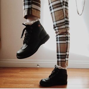 Unif Black Leather Lace Up Shoe Boot
